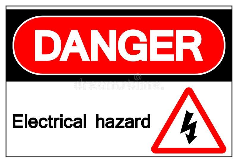 Muestra del símbolo del peligro eléctrico del peligro, ejemplo del vector, aislado en la etiqueta blanca del fondo EPS10 ilustración del vector