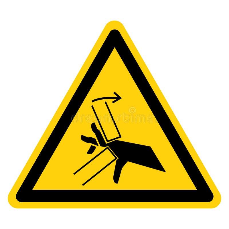Muestra del símbolo del punto de pellizco del agolpamiento de la mano, ejemplo del vector, aislante en la etiqueta blanca del fon ilustración del vector