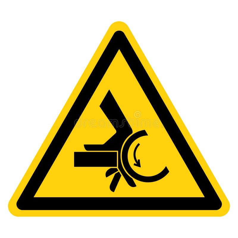 Muestra del símbolo del punto de pellizco del rodillo del agolpamiento de la mano, ejemplo del vector, aislante en la etiqueta bl libre illustration