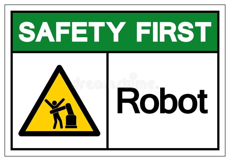 Muestra del s?mbolo del robot de la seguridad primero, ejemplo del vector, aislante en la etiqueta blanca del fondo EPS10 libre illustration