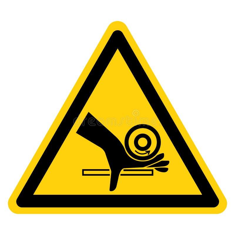 Muestra del s?mbolo del punto de pellizco del rodillo del agolpamiento de la mano, ejemplo del vector, aislante en la etiqueta bl ilustración del vector