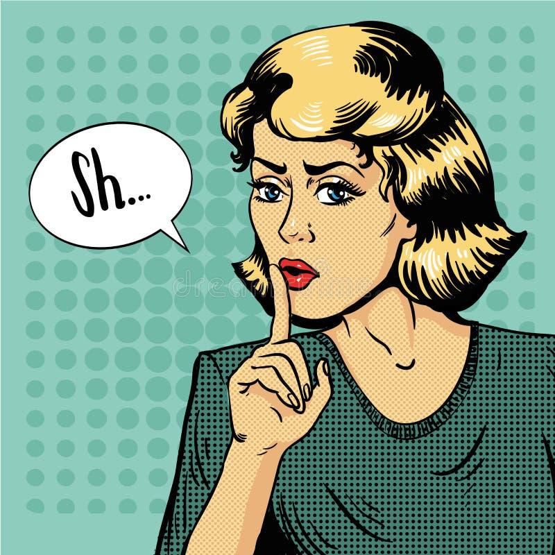 Muestra del silencio de la demostración de la mujer Ejemplo del vector en estilo retro del arte pop El mensaje Shhh para la parad stock de ilustración