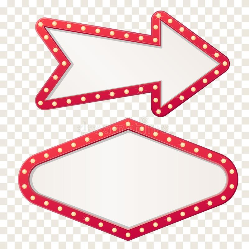 Muestra del tablero de la luz de la carpa de la flecha. Flechas retras del marco con las l?mparas del bulbo. Vector ilustración del vector
