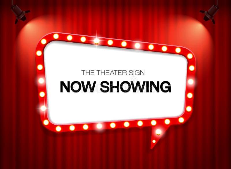 Muestra del teatro en muestra del teatro de la cortina en la cortina con vector de la luz del punto ilustración del vector