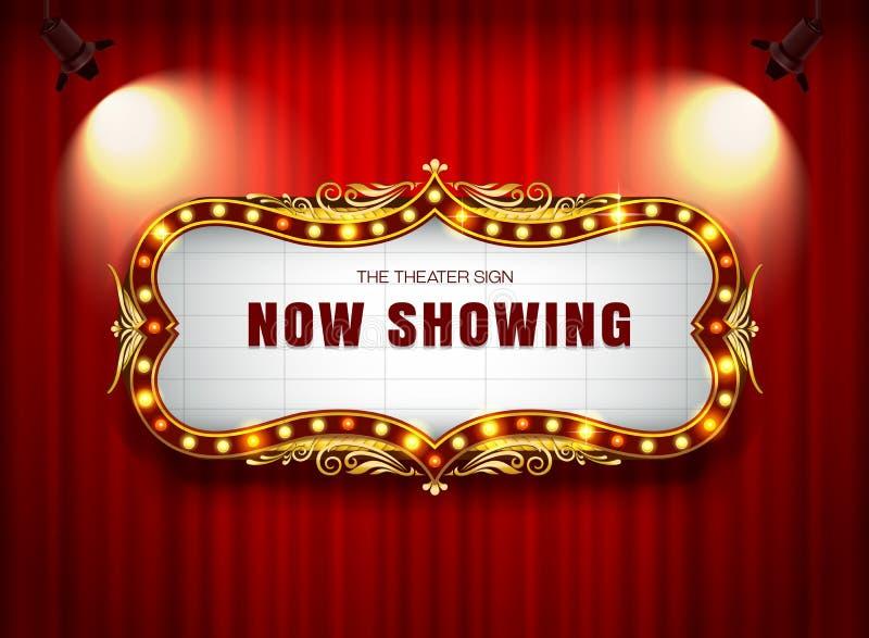 Muestra del teatro en la cortina foto de archivo libre de regalías