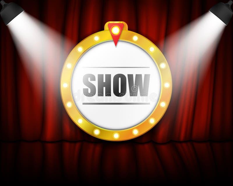 Muestra del teatro en la cortina con el proyector Ilustración del vector ilustración del vector