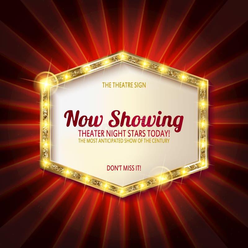 Muestra del teatro o muestra del cine en la cortina ilustración del vector