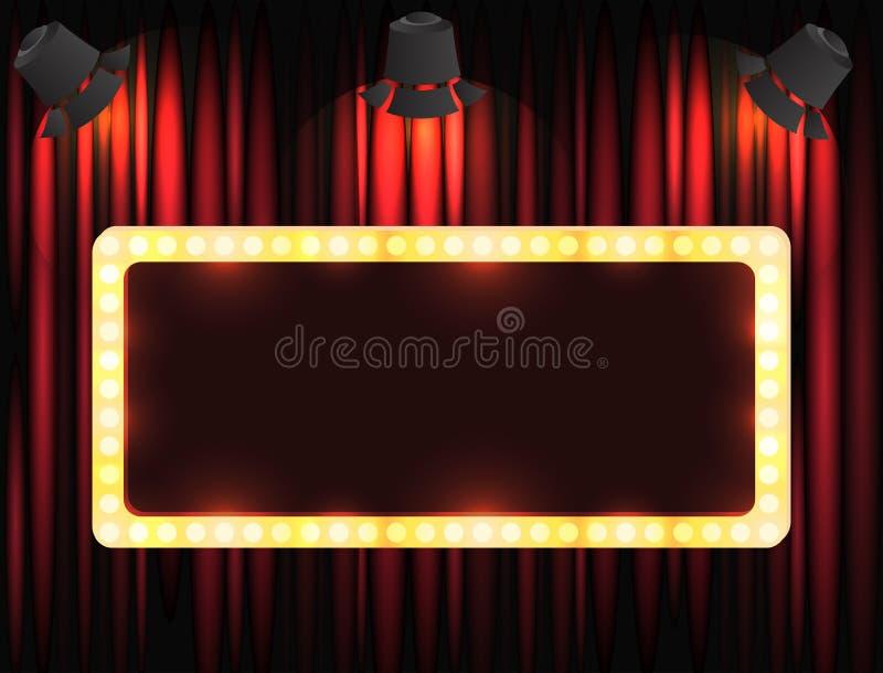 Muestra del teatro o muestra del cine en la cortina con la luz del punto libre illustration