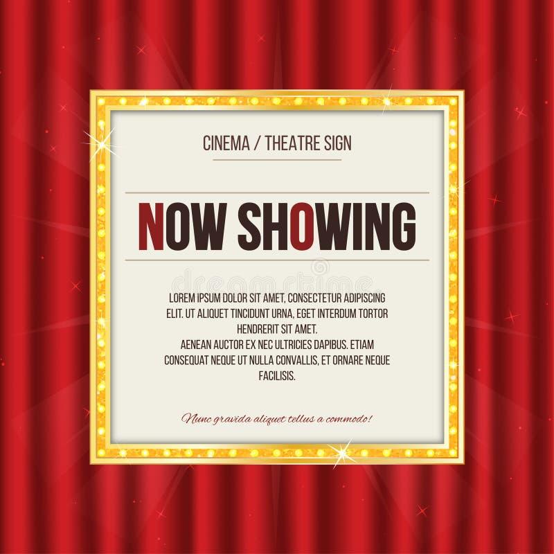 Muestra del teatro o muestra del cine en la cortina roja Letrero retro del oro libre illustration
