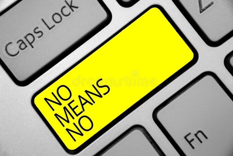 Muestra del texto no mostrando ningún medio ningún Llave conceptual del amarillo del teclado del acoso sexual de la respuesta neg imágenes de archivo libres de regalías