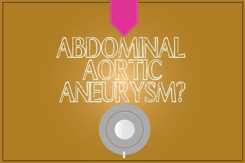 Muestra del texto que muestra Aneurysmquestion aórtico abdominal Foto conceptual que se familiariza con la ampliación del café de libre illustration