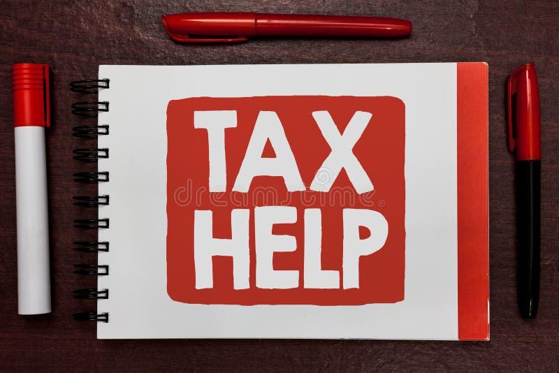 Muestra del texto que muestra ayuda del impuesto Ayuda conceptual de la foto de la contribución obligatoria a las ideas important fotografía de archivo libre de regalías