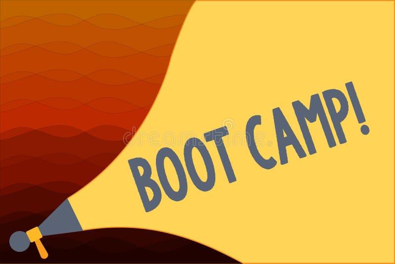 Muestra del texto que muestra Boot Camp Campo de entrenamiento militar conceptual de la foto para la aptitud dura de la disciplin stock de ilustración