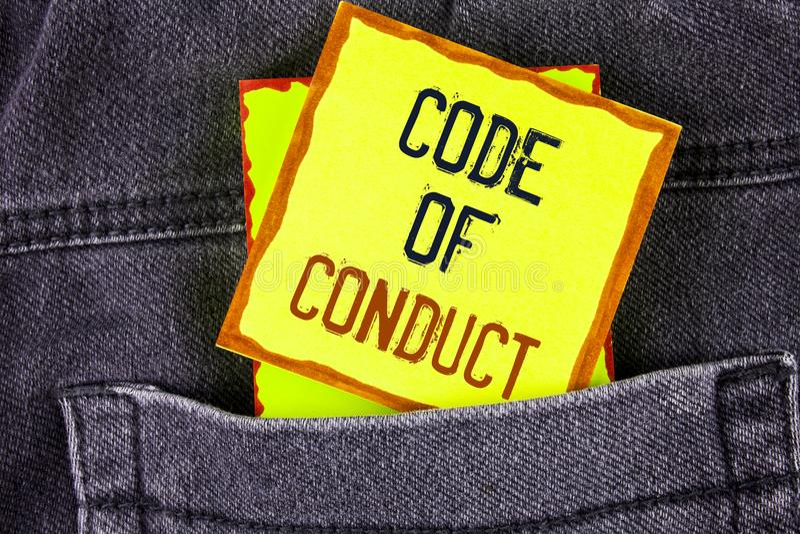 Muestra del texto que muestra código de conducta La foto conceptual sigue principios y los estándares para la integridad del nego imagenes de archivo