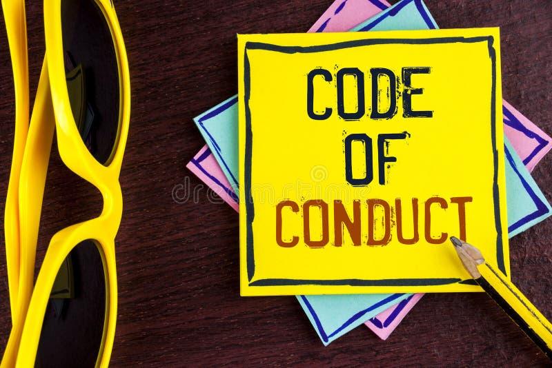 Muestra del texto que muestra código de conducta La foto conceptual sigue principios y los estándares para la integridad del nego imagen de archivo libre de regalías