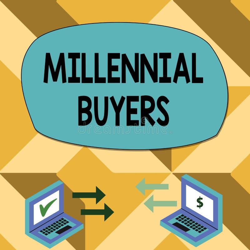 Muestra del texto que muestra a compradores milenarios Tipo conceptual de la foto de consumidores que est?n interesados en tender stock de ilustración
