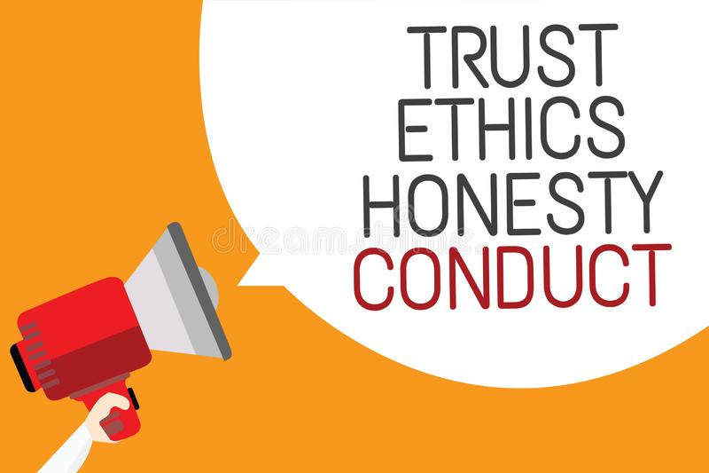 Muestra del texto que muestra conducta de la honradez de los éticas de la confianza La foto conceptual implica que cualidades pos libre illustration