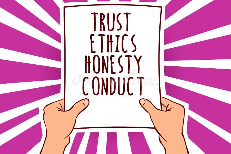 Muestra del texto que muestra conducta de la honradez de los éticas de la confianza La foto conceptual implica que cualidades pos ilustración del vector