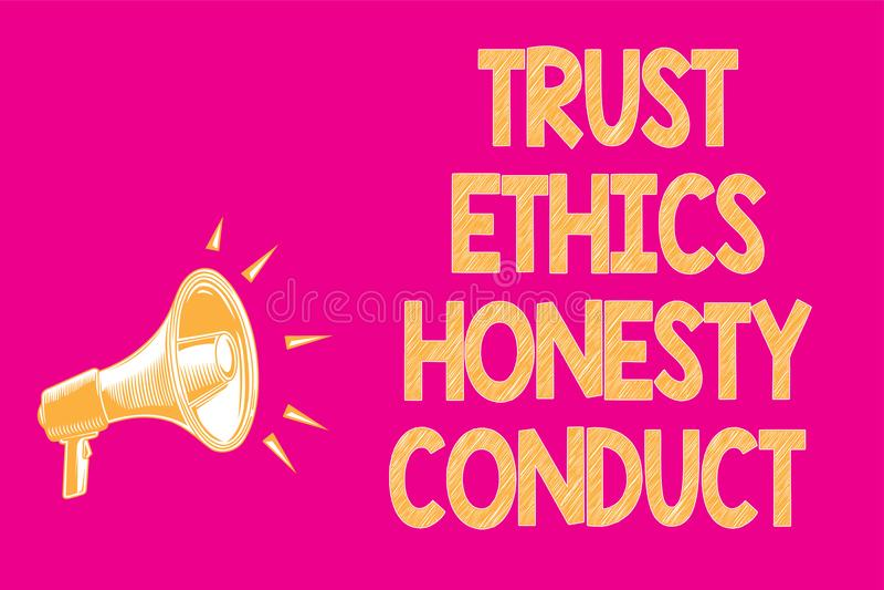 Muestra del texto que muestra conducta de la honradez de los éticas de la confianza La foto conceptual implica el altavoz positiv ilustración del vector