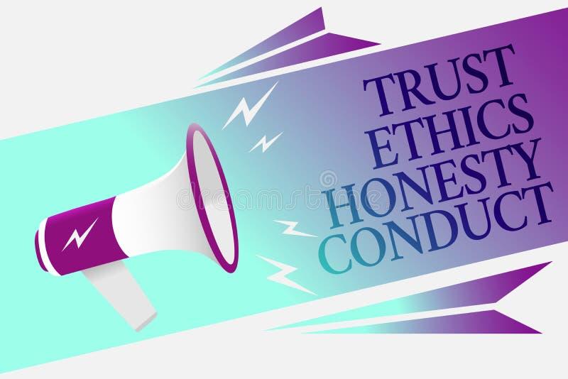 Muestra del texto que muestra conducta de la honradez de los éticas de la confianza La foto conceptual implica el altavoz positiv libre illustration