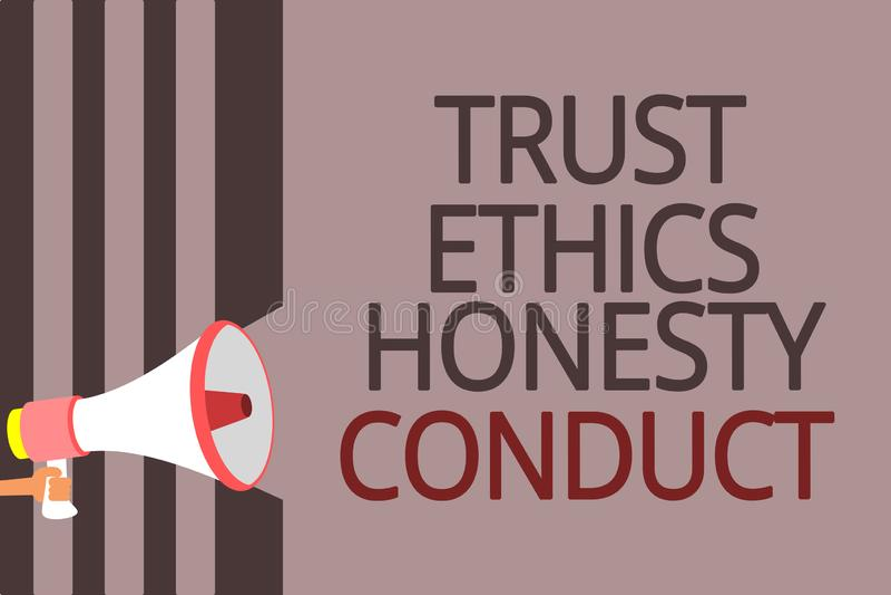 Muestra del texto que muestra conducta de la honradez de los éticas de la confianza La foto conceptual implica el megáfono positi libre illustration