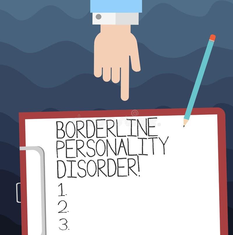Muestra del texto que muestra desorden de personalidad límite Trastorno mental conceptual de la foto marcado por el análisis ines stock de ilustración
