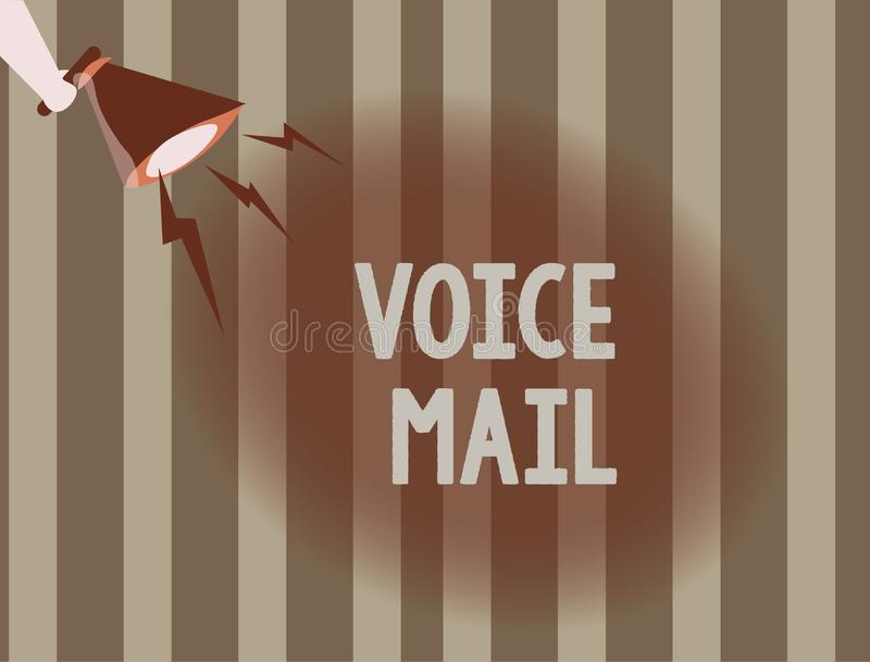 Muestra del texto que muestra el correo de voz Sistema electrónico de la foto conceptual que almacena mensajes de visitantes de t ilustración del vector