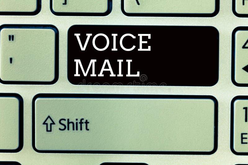 Muestra del texto que muestra el correo de voz Sistema electrónico de la foto conceptual que almacena mensajes de visitantes de t imagen de archivo libre de regalías