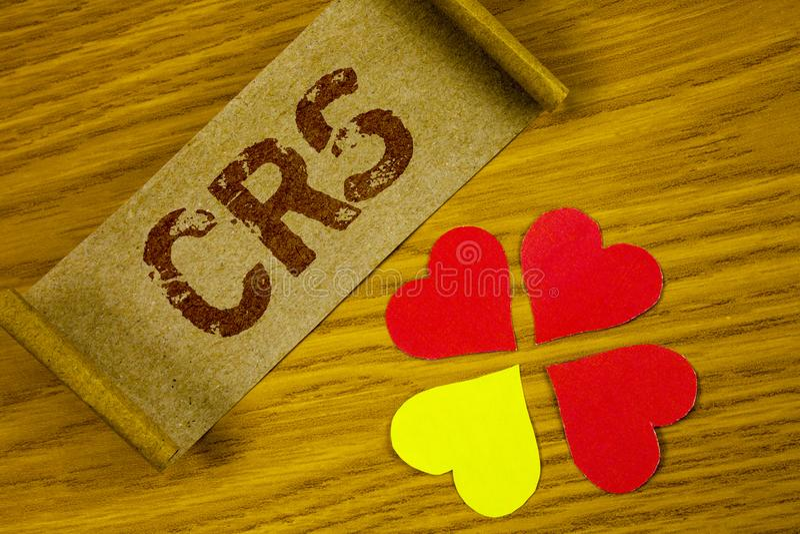 Muestra del texto que muestra el CRS Estándar común de la información de la foto conceptual para compartir la información financi imagen de archivo
