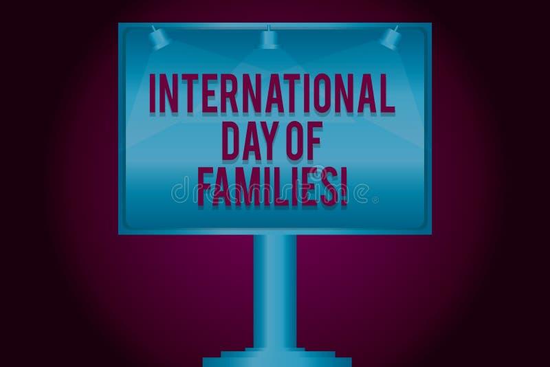Muestra del texto que muestra el día internacional de familias Lámpara conceptual del espacio en blanco de la celebración de la u ilustración del vector