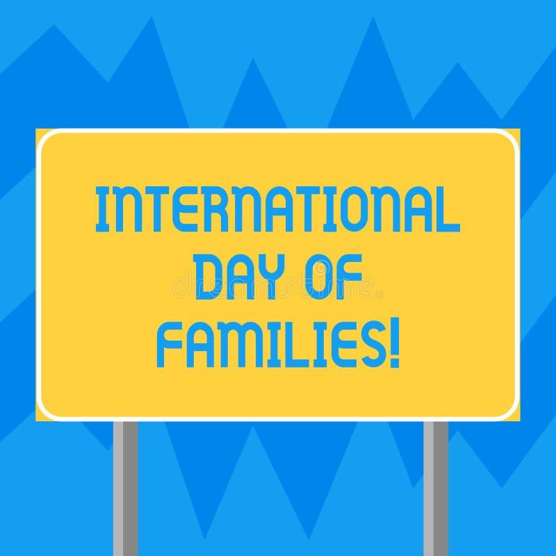 Muestra del texto que muestra el día internacional de familias La celebración conceptual de la unidad del tiempo de la familia de libre illustration