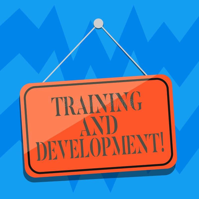 Muestra del texto que muestra el entrenamiento y el desarrollo Ejecución en blanco de proceso de la mejora de organización consta stock de ilustración
