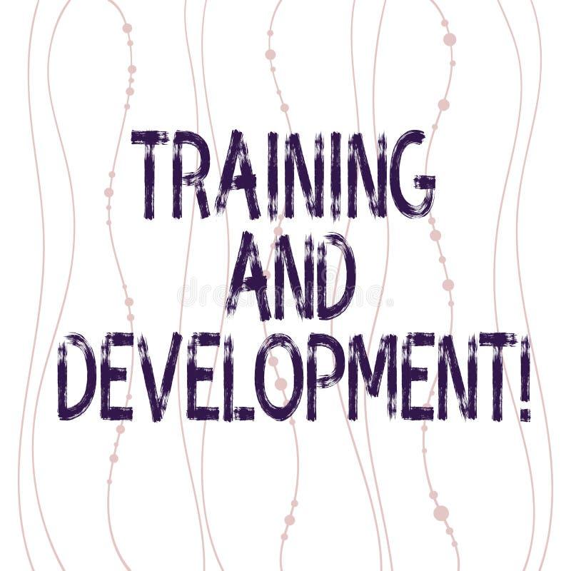Muestra del texto que muestra el entrenamiento y el desarrollo La vertical de proceso de la mejora de organización constante conc ilustración del vector