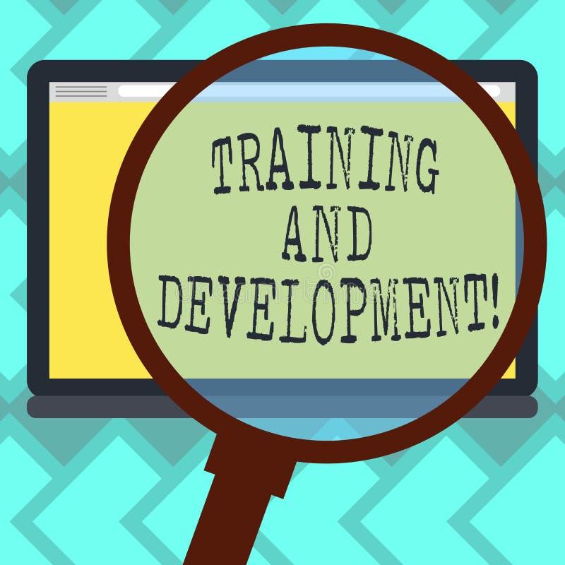 Muestra del texto que muestra el entrenamiento y el desarrollo El magnificar de organización constante del proceso de la mejora d ilustración del vector