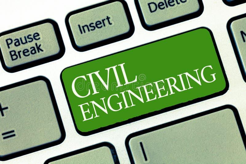 Muestra del texto que muestra el genio civil El edificio conceptual del diseño de planeamiento de la foto de caminos tiende un pu imagenes de archivo