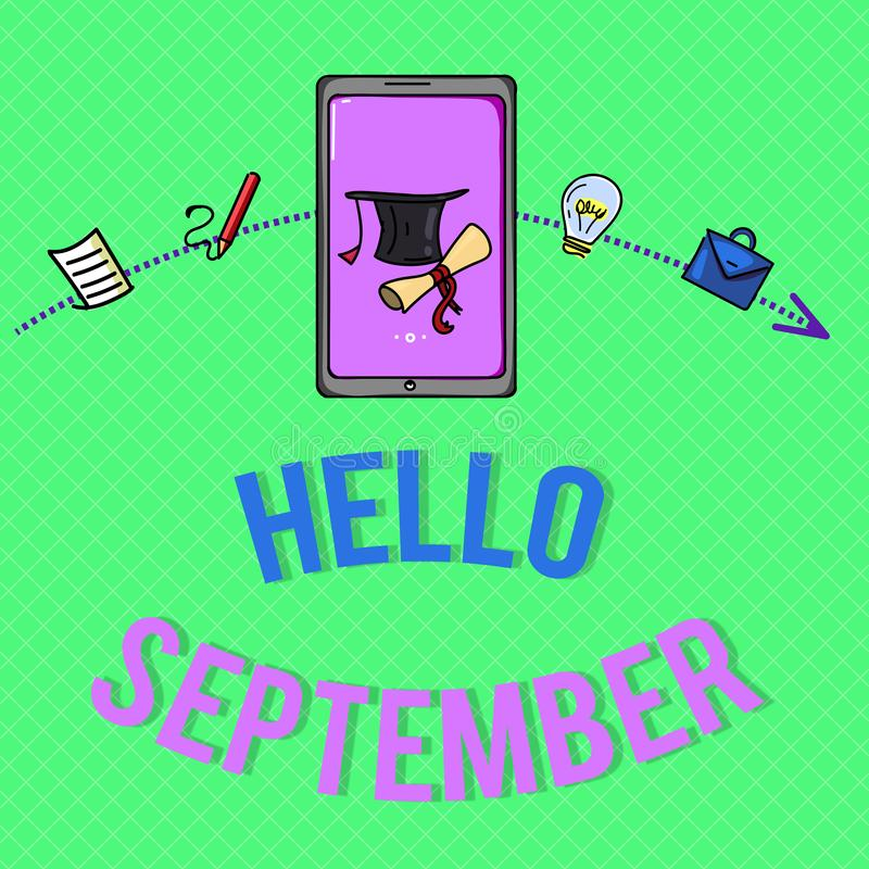 Muestra del texto que muestra el hola septiembre Foto conceptual que quiere con impaciencia una cálida bienvenida al mes de septi ilustración del vector