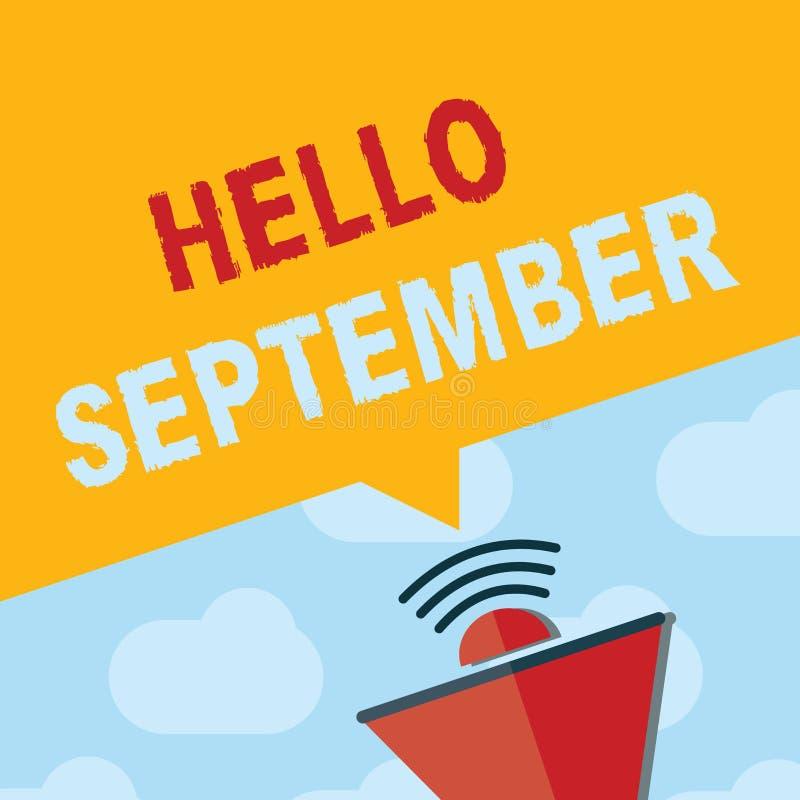 Muestra del texto que muestra el hola septiembre Foto conceptual que quiere con impaciencia una cálida bienvenida al mes de septi stock de ilustración