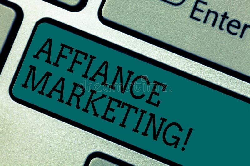 Muestra del texto que muestra el márketing del Affiance Foto conceptual que se une a dos o más compañías en el mismo teclado mutu imagen de archivo libre de regalías