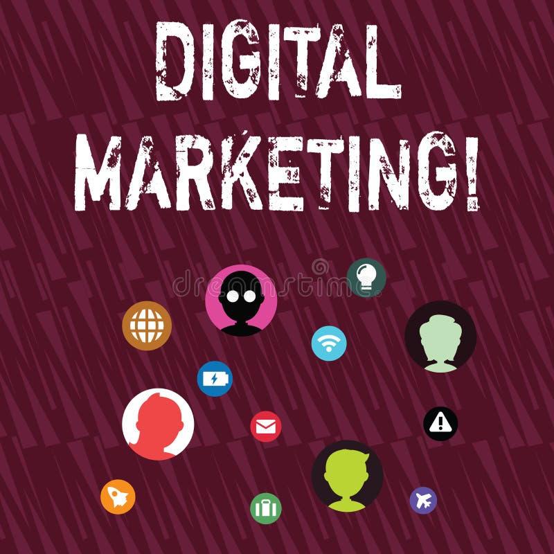 Muestra del texto que muestra el m?rketing de Digitaces Productos conceptuales o servicios del mercado de la foto usando tecnolog libre illustration
