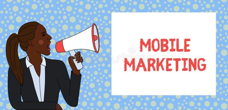 Muestra del texto que muestra el m?rketing m?vil Técnica conceptual de la foto centrada alcanzando a la audiencia en sus jóvenes  stock de ilustración