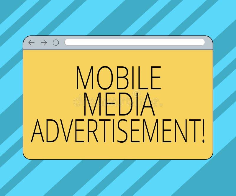 Muestra del texto que muestra el medios anuncio móvil Publicidad conceptual de la foto vía los teléfonos móviles o el otro monito stock de ilustración