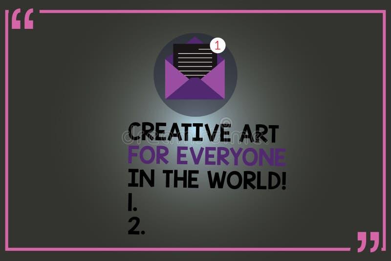 Muestra del texto que muestra el mundo creativo de Art For Everyone In The La foto conceptual separó creatividad a otras sobre ab stock de ilustración