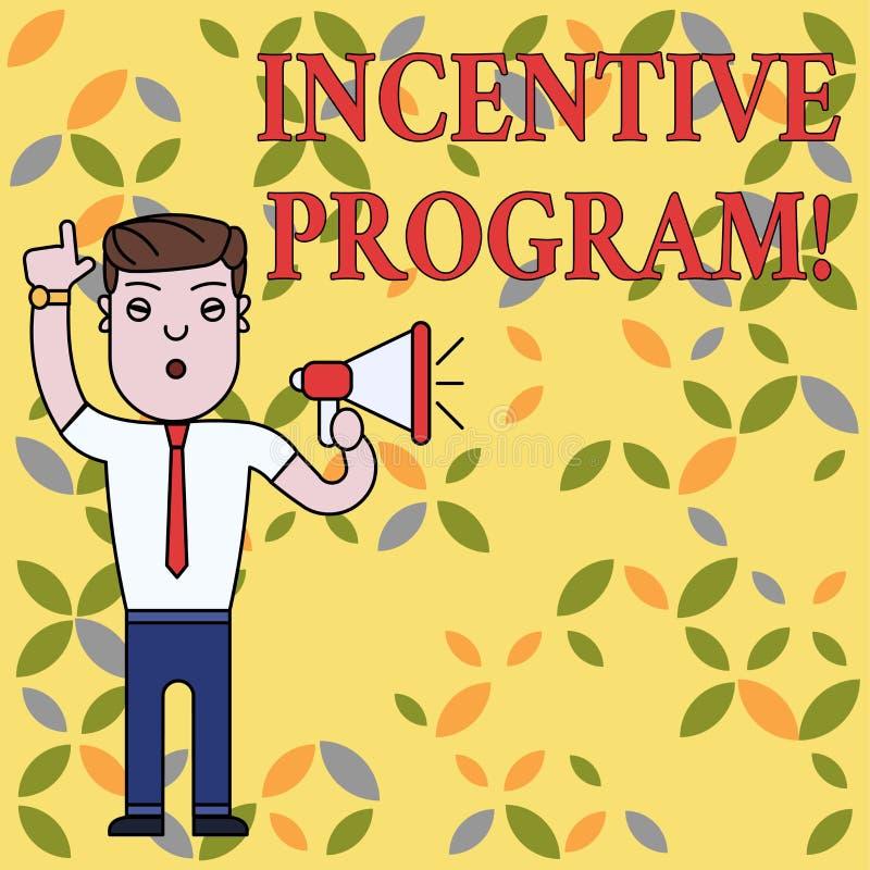 Muestra del texto que muestra el programa incentivo Esquema específico de la foto conceptual usado para promover a cierto hombre  stock de ilustración