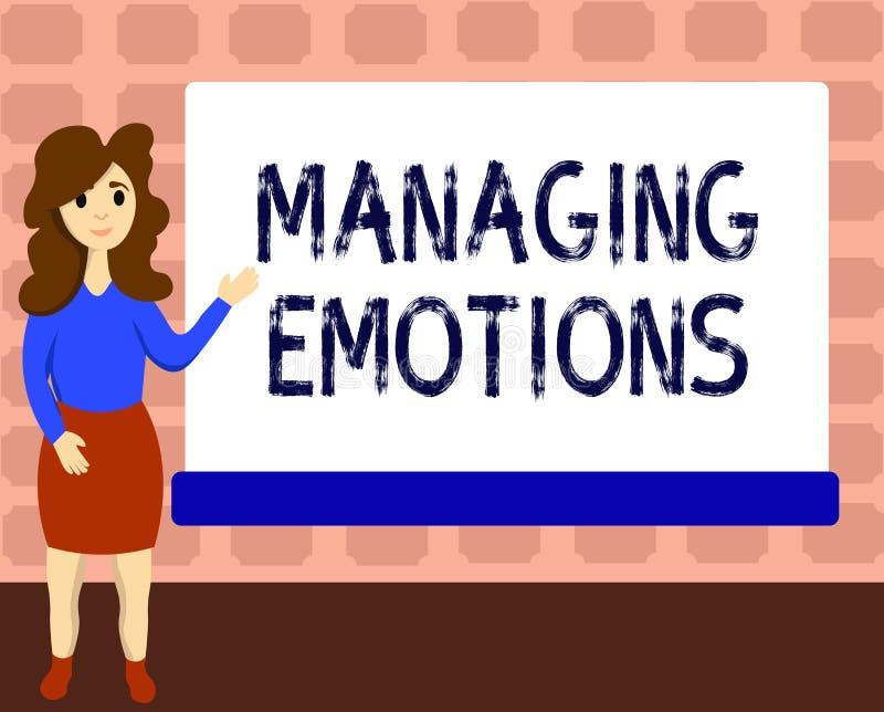 Muestra del texto que muestra emociones de manejo Las sensaciones que controlan de la foto conceptual en sí mismo mantienen calma ilustración del vector