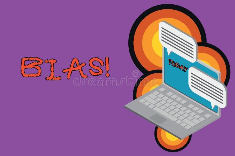 Muestra del texto que muestra en diagonal Inclinación o perjuicio conceptual de la foto a favor o en contra de un ordenador portá stock de ilustración