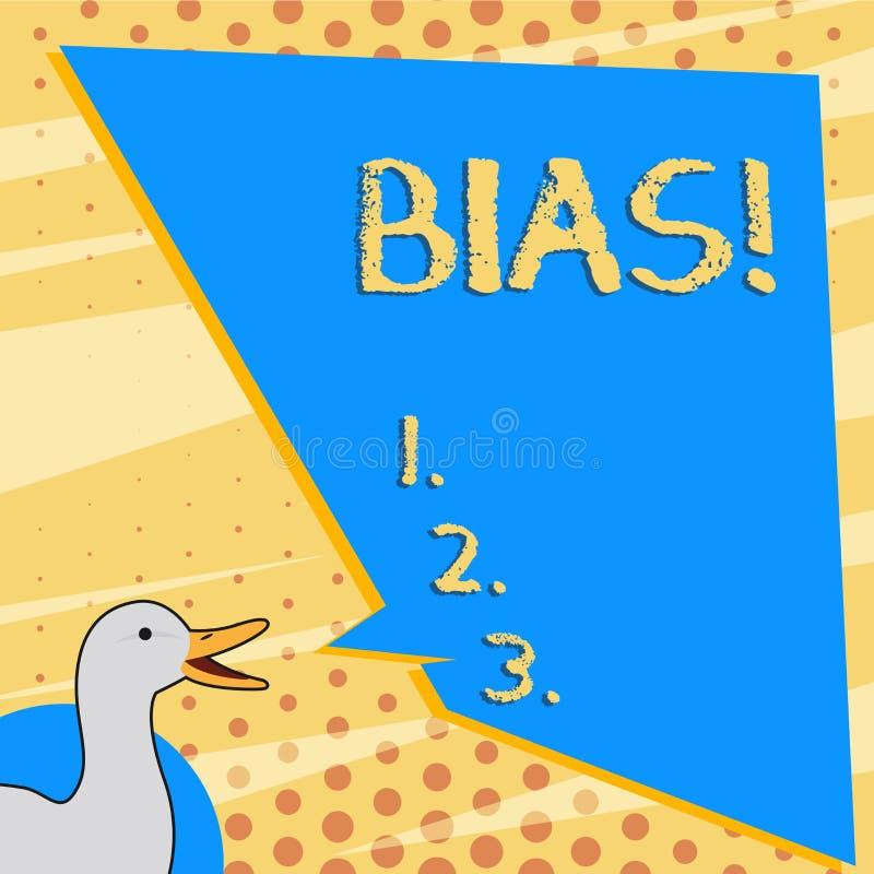 Muestra del texto que muestra en diagonal Inclinaci?n o perjuicio conceptual de la foto a favor o en contra de una foto de demost stock de ilustración