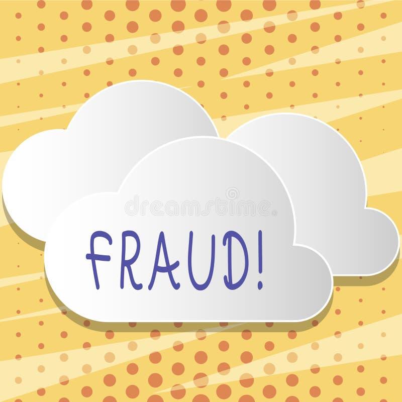 Muestra del texto que muestra fraude Engaño criminal de la foto conceptual a conseguir espacio en blanco financiero o demonstrati libre illustration