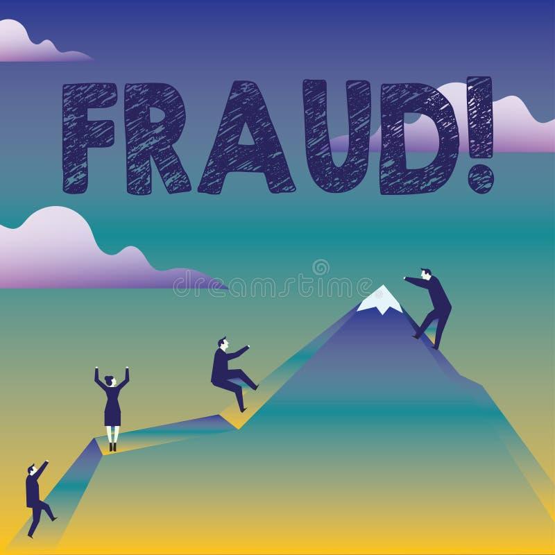 Muestra del texto que muestra fraude Engaño criminal de la foto conceptual a conseguir hombres de negocios financieros o demonstr ilustración del vector