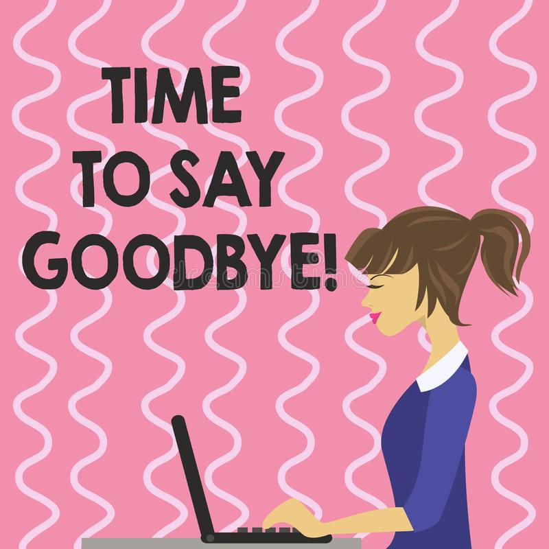 Muestra del texto que muestra hora de decir adiós Momento conceptual de la separación de la foto que deja a desintegración la ter stock de ilustración