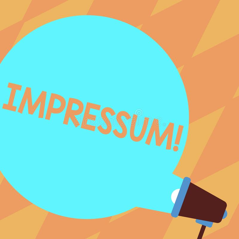 Muestra del texto que muestra Impressum Profesi?n de escritor grabada impresionada foto conceptual de la propiedad de la declarac libre illustration